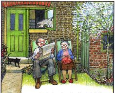 Raymond Briggs - Ethel & Ernest A True Story (about his father and mother) - In the garden - note the small tree (p. 75 - compare with no. 18) (12 of 19)