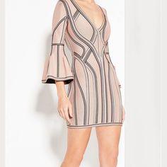 Mimi Nude Puff Sleeve Mini Bandage Dress