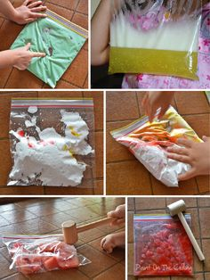 Paint On The Ceiling: Slime experiment & Sensory bags
