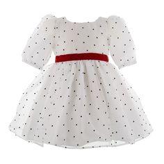 #dress 2 - Rochita botez White Princess - Hey Princess - Rochite fetite, Rochite printese - Rochita din organza ci picatele catifelate negre, sustinuta pe tafta alba, captuseala din bumbac natural. Rochita este alegerea ideala pentru botez.