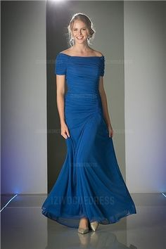 Sheath/Column Off-the-shoulder Floor-length Chiffon Mother of the Bride Dress
