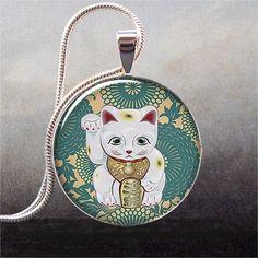 Maneki Neko Teal art pendant charm