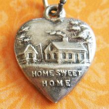 Antique Home Sweet Home Puffy Heart Sterling Silver Charm from A Genuine Find I Love Heart, Key To My Heart, Heart Art, My Funny Valentine, Valentines, Vintage Charm Bracelet, Heart Jewelry, Silver Charms, Sterling Silver Jewelry