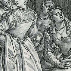 De Venetiaanse bruiloft, Hendrick Goltzius, 1584 - Rijksmuseum Pinks on the lantern sleeves and lots of examples of virgin crowns