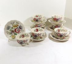 Beautiful fine china by JOHNSON BROTHERS CHINA of England. This listing is for one cup and saucer set (two pieces) in the lovely SHERATON pattern. I