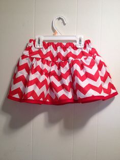 Red and white chevron skirt size 3t by BananasLove on Etsy, $13.00