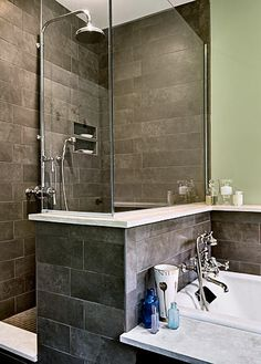 Master Shower and Tub.