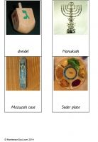 Free montessori cards of objects associated with Judaism.