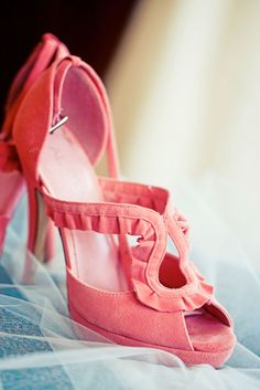 strappy, ruffled, suede shoes in girlie, pink-coral color.  Delightful!