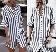 2019 Women Blouse Dress Ladies Striped Long Shirt Dress Loose Button Women Striped Half Sleeve Vintage Female Vestidos Size S Color Blue Long Shirt Dress, Striped Shirt Dress, Striped Long Sleeve Shirt, Blouse Dress, Blusas Crop Top, Crop Top Shirts, Sewing Blouses, Camisa Formal, Shirt Sleeves