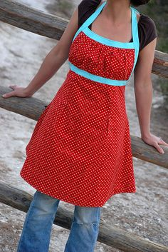 Different fabrics give a totally different feel to this Emmeline apron pattern.