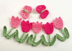 Crochet Tulip Flowers and Butterflies - Pattern available on Etsy.