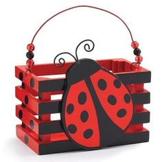 "Ladybug Crate Handle Planter Wood 3"" Box Basket Party Favor Decor Basket"