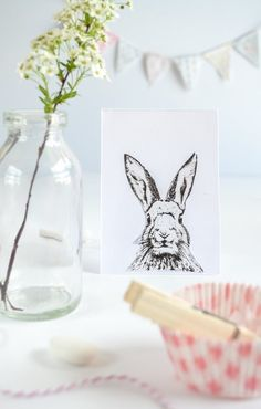 Bunny Card DIY by Passionshake - cilck through for more easter printables and diy inspiration