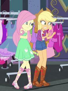 #1962901 - animated, applejack, bare shoulders, clothes, clothes rack, cropped, dress, equestria girls, equestria girls series, fluttershy, freezing, geode of fauna, geode of super strength, gesture, magical geodes, offscreen character, safe, screencap, shivering, sleeveless, spoiler:eqg series (season 2), strapless, street chic, tanktop - Derpibooru - My Little Pony: Friendship is Magic Imageboard My Little Pony Characters, Female Characters, Cartoon Characters, Fluttershy, Goth Disney Princesses, My Little Pony Applejack, My Little Pony Collection, Equestria Girls, Powerpuff Girls
