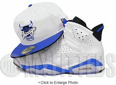 501049c54a5 Chicago Bulls Glacial White Jet Black Sport Blue Air Jordan VI Matching New  Era Fitted Cap