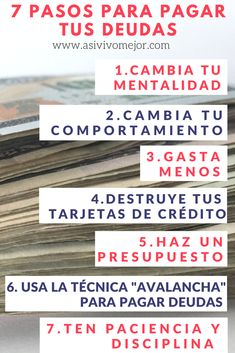 Si sientes que tus deudas no te dejan progresar económicamente y te tienen atado, aprende la receta de 7 pasos para pagar tus deudas y recuperar tu libertad financiera en 2018. Sigue estos pasos y lograrás no solo deshacerte de tus deudas, sino también ahorrar dinero e invertir en tu futuro. #deudas #dinero #asivivomejor #libertadfinanciera #librededeudas #finanzaspersonales #hispanos #espanol #podcast #podcasts
