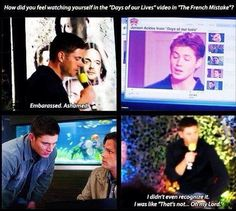 "Jensen Ackles about ""Days of our Lives"" - LOL look at Sam's face! Repinning for panel three. Their faces....Priceless"