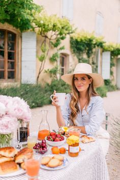 Gal Meets Glam Provence House - Villa St Saturnin via Haven In - Joie top, Club Monaco pants & Cuyana Hat