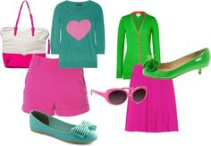 """""""Green Pink Outfit"""" by micmeron on Polyvore"""