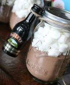 Christmas Gifts in a Jar - Baileys with Hot Chocolate - Click pic for 25 DIY Christmas Gifts