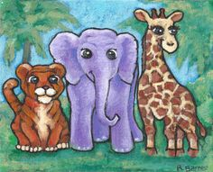 """Reserved for Julie - 8x10"""" acrylic painting of animal BFFs."""