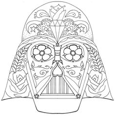 starwars day of the dead bing darth vader coloring pages sugar skull