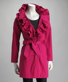 Take a look at this Joymark Magenta Ruffle Collar Trench Coat by Joymark on #zulily today!