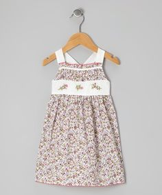 Look at this Off-White & Burgundy Floral Smocked Dress - Infant on #zulily today!