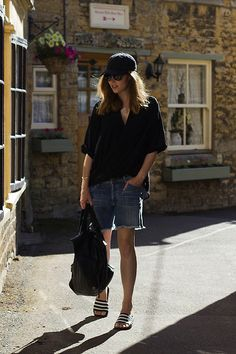 Ray Ban Sunglasses, Citizens Of Humanity Denim Shorts, Asos Leather Backpack, Adidas Sandals