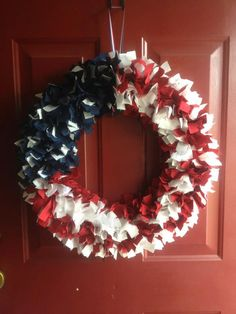 I have American Flag rag wreaths for sale just in time for the 4th of July! 18 inch frame, which equals to a large finished product of around 21-22 inches! Perfect for front doors