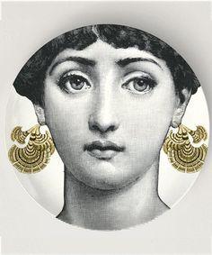 ear bobs, original design with famous Cavalieri face engraving on 10 inch Melamine Plate, Cavalieri art, Cavalieri engraving, Cavalieri