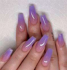 These fabulous nail art designs are super unique and glamorous, these will give you the trendy looks and give your nails a whole new edge to them. These designs below and next page include different shades like glitter pink, clear nails with etc. Fabulous Nails, Perfect Nails, Amazing Nails, Purple Ombre Nails, Purple Nails With Glitter, Gel Ombre Nails, Acrylic Nails Coffin Ombre, Coffin Acrylics, Ombre Gel Polish
