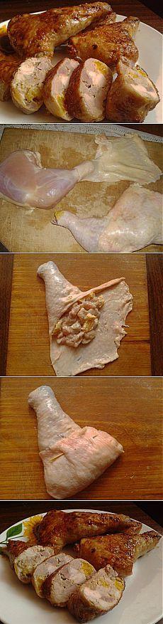 Divinement Délicieux farcies cuisses de poulet!  |  recettes favorites