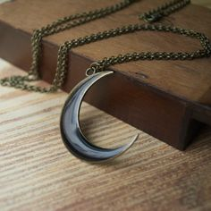 Black Crescent Moon Necklace  Moon Phase by DuplikaHandmade, $25.00