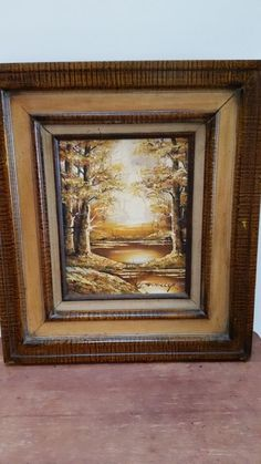 VINTAGE TREE & LAKE WOODEN FRAMED OIL PAINTING BY SCHILLER #Realism