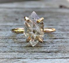 Diamond crystal point ring Herkimer Diamond Ring 14k gold or