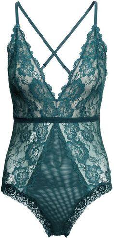 H&M - Lace Bodysuit - Teal - Ladies - lingerie pictures, silk lingerie, best lace lingerie *ad