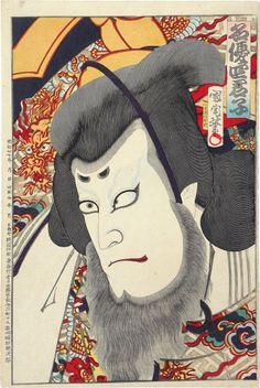 Toyohara Kunichika (1835-1900): Four Famous Wise Men of the Theater: Fujiwara Shihei, woodblock print, 1894.