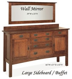 Nobility Mission Solid Oak Sideboard Buffet Great Room