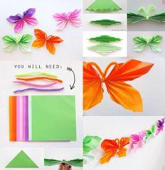Evde Renkli Kağıttan Kolay Kelebek Yapımı Resimli Anlatım