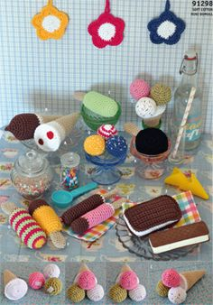 FREE Crochet Patterns and Tutorials : lots of different kinds of Crocheted Ice Cream Cones, Popsicles and an Ice Cream Sandwich (click on the flag to get to the free pdf-pattern)
