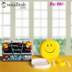 Smiley Lunch Box Sphere New Birthday Return Gifts, Backpacking Food, Smiley, Fork, Cool Kids, Spoon, Birthday Parties, Lunch Box, Plastic