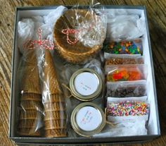 Great gift idea. An icecream sundae kit. Could even include sundae dishes and spoons