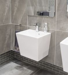 Wall-hung basins make the room look bigger by showing more floor. It's a super-stylish way to make more of your space. Room, Countertops, Single Vanity, Bathroom Basin, Home Decor, Bathroom Vanity, Flooring, Bathroom Decor, Beautiful Bathrooms