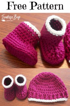 Very cute 50 min easy crochet baby booties and hat pattern. An easy free crochet baby pattern and hat set, great for beginners! Crochet Pattern Free, Baby Booties Free Pattern, Baby Shoes Pattern, Baby Hat Patterns, Baby Bootie Crochet Pattern, Crochet Baby Hats Free Pattern, Easy Crochet Patterns, Knitting Patterns, Crochet Baby Boots