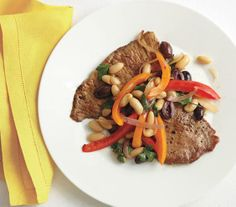 Pork Cutlets With Sautéed Peppers and Beans recipe