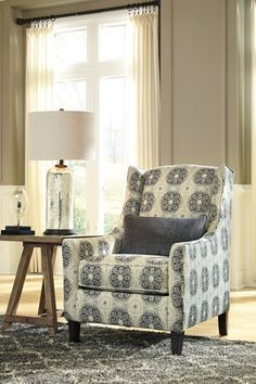 Vintage Casual accent chair has beautiful ebony accent medallions, and very comfortable, too! Azlyn collection by Ashley furniture at Sweet Dreams Mattress & Furniture! Living Room Redo, Accent Chairs For Living Room, Living Room Furniture, Home Furniture, Parks Furniture, Furniture Styles, Shabby Chic Table And Chairs, Vintage Chairs, Painted Chairs