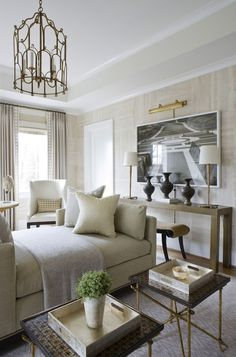 Cream room with gold accents.  Love the cream/beige natural wallpaper.