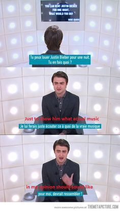 Sorry to all you Belibers, but this is AWESOM!!! ~~Daniel Radcliffe on Justin Bieber's music :D